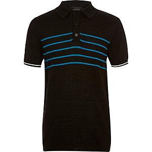 Boys black block stripe polo shirt