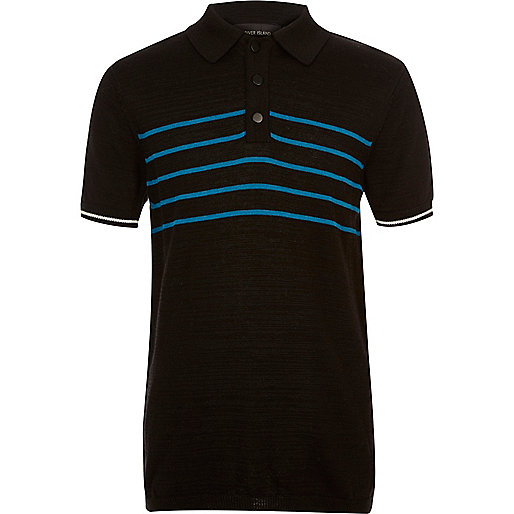 Boys black block stripe polo shirt