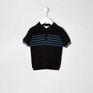 Mini boys black stripe print polo shirt