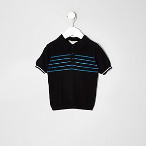 Mini boys black stripe print polo shirt