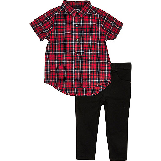Mini boys red check shirt jeans outfit