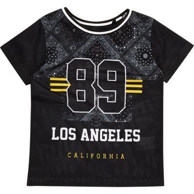 Zwart mesh T-shirt met bandanaprint voor mini boys