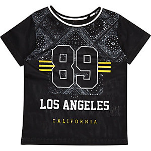 Mini boys black mesh bandana print T-shirt
