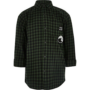 Boys dark green check longline shirt