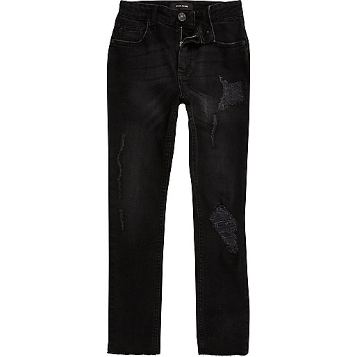 Boys black Sid rip and repair skinny jeans