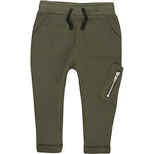 Mini boys khaki green utility joggers