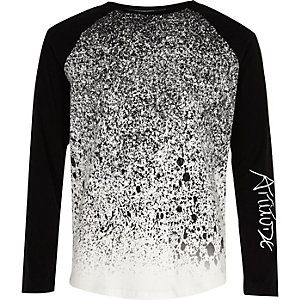 Boys black paint splatter raglan T-shirt