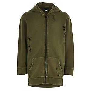 Boys khaki green distressed zip up hoodie