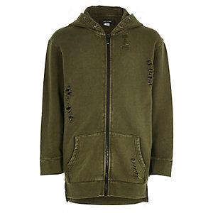 Sweat vert kaki aspect usé zippé à capuche pour garçon