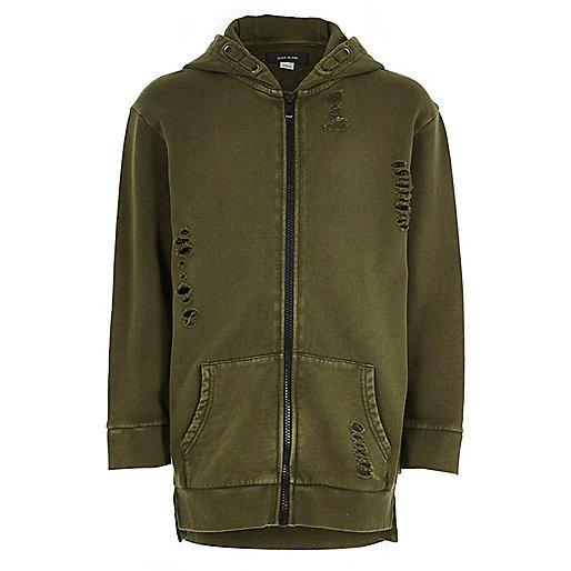 Boys khaki green distressed zip up hoodie