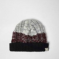 Mini boys burgundy chunky knit bobble hat