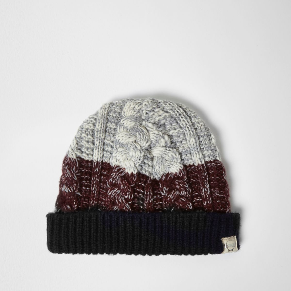 Mini boys burgundy chunky knit bobble hat