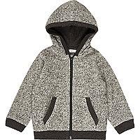Sweat gris zippé à capuche confortable mini garçon