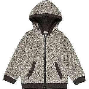 Mini boys grey cosy zip up hoodie