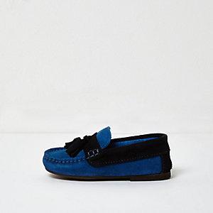 Mocassins en daim bleus à talons carrés mini garçon
