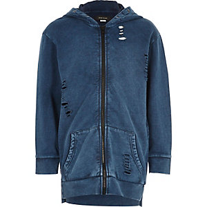 Boys blue washed distressed hoodie