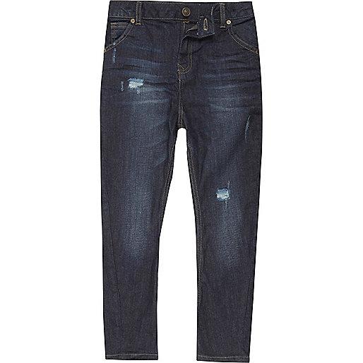 Boys dark blue Tony slouch fit jeans