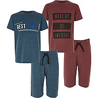 Boys red and blue shorts pyjama set pack