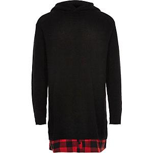 Boys black check hem longline hoodie