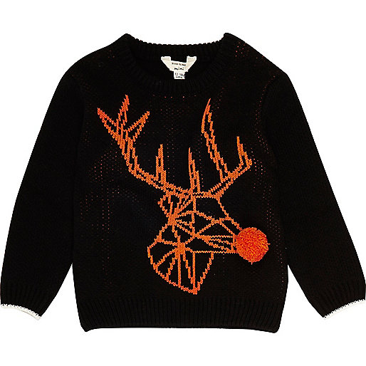 Mini boys black geo reindeer Christmas Jumper