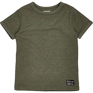 Mini boys green waffle T-shirt