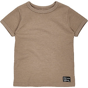 Steingraues T-Shirt mit Waffelstruktur