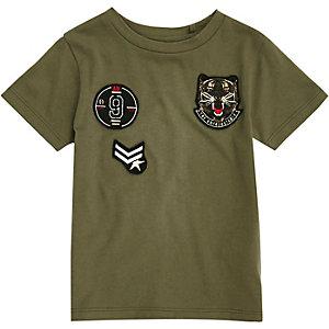 T-shirt kaki à écusson mini garçon