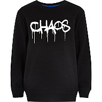 Boys black 'Chaos' print sweatshirt