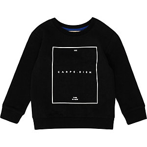 Mini boys black print sweatshirt