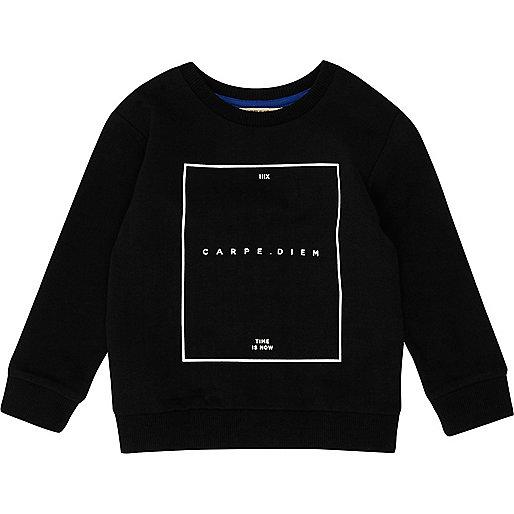 Mini boys black print sweatshirt