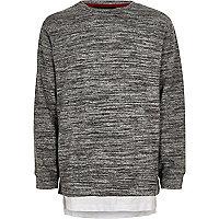 Boys grey marl layered sweatshirt