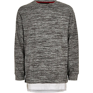 Boys grey marl layered sweatshirt