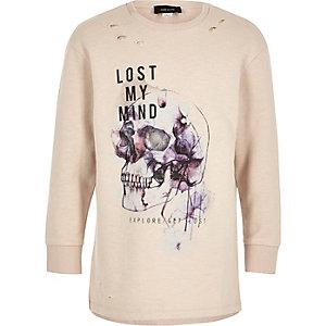 Boys cream skull print distressed sweatshirt