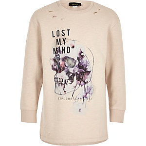 Boys cream skull print distressed sweatshirt