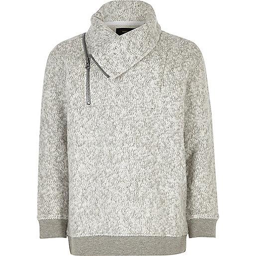 Boys grey soft funnel neck sweatshirt