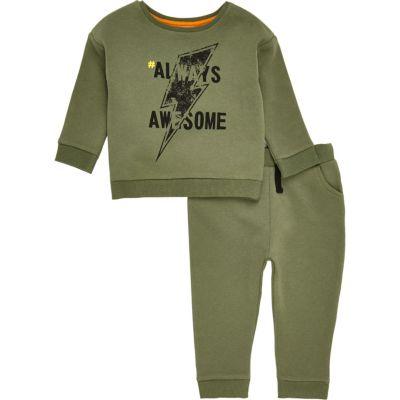 Kaki sweatshirt met print en joggingbroek voor mini boys