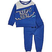 Mini boys blue print sweatshirt set