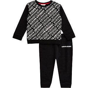 Mini boys black print sweatshirt and joggers