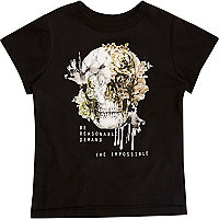 T-shirt noir imprimé tête de mort mini garçon