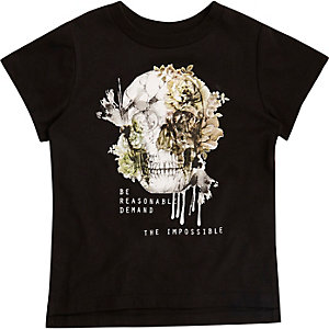 Mini boys black skull print T-shirt