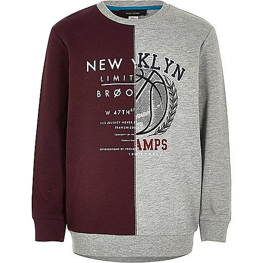 Boys grey block NY print sweatshirt