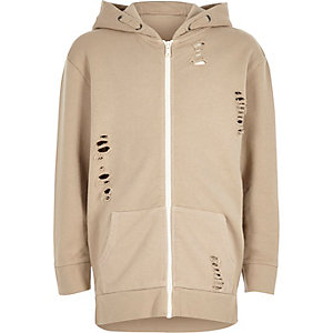 Boys cream distressed zip up hoodie
