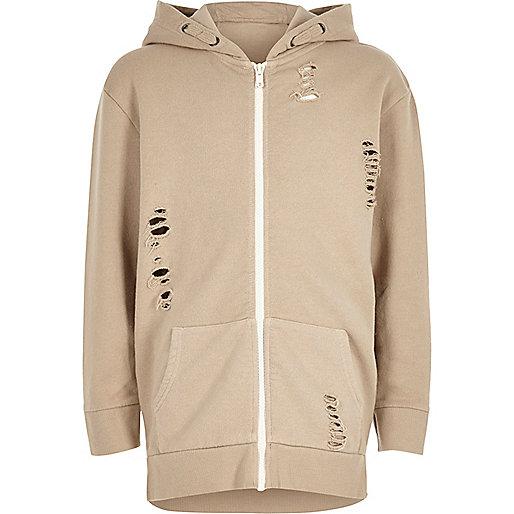 Boys cream distressed zip up hoodie
