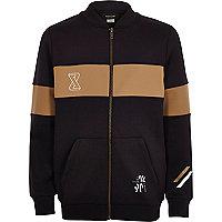Boys brown stripe casual bomber jacket