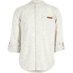 Boys cream flecked grandad shirt
