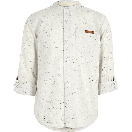 Boys cream flecked grandad shirt