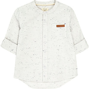 Mini boys ecru grandad shirt