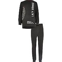 Boys grey lazy bones print pajama set