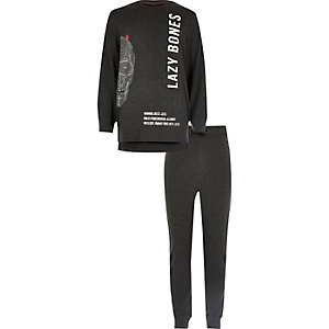 Boys grey lazy bones print pyjama set
