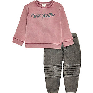 Mini boys pink sweatshirt and biker joggers
